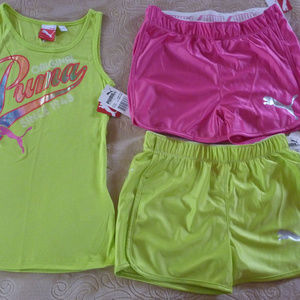 New Lot Set Puma Kids Junior Girl L 12 Tank Shorts